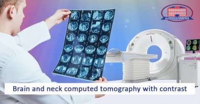 Brain and neck computed tomography with contrast